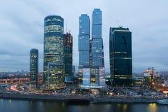 莫斯科市摩天大楼都市风景  免版税图库摄影