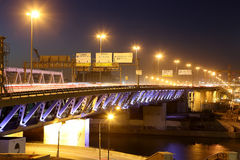 莫斯科市桥梁在晚上,俄罗斯 库存照片