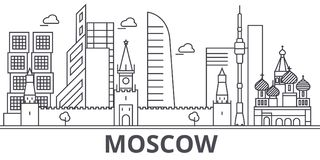 莫斯科建筑学线地平线例证 与著名地标的线性传染媒介都市风景,城市视域,设计象 免版税库存照片