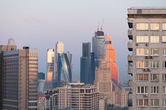 莫斯科摩天大楼在清早 免版税图库摄影
