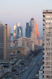 莫斯科摩天大楼在清早 库存照片