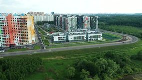 莫斯科新的五颜六色的住宅区的顶视图  影视素材