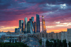 莫斯科日落颜色 免版税库存照片