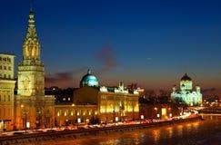 莫斯科晚上俄国冬天 免版税库存照片
