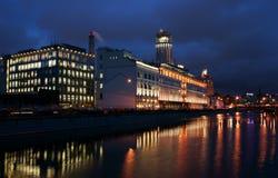 莫斯科晚上码头 图库摄影