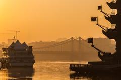 莫斯科河俄国烟雾 星期四, 11月 20日2014年 天气:太阳, s 免版税图库摄影