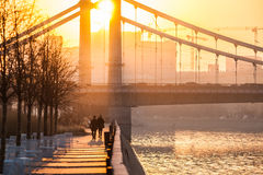莫斯科河俄国烟雾 星期四, 11月 20日2014年 天气:太阳, s 库存照片