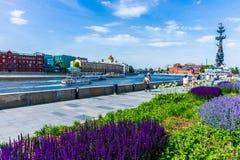 莫斯科河的散步堤防 免版税库存照片
