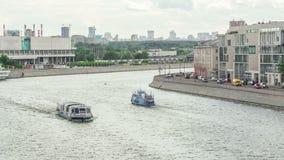 莫斯科河 河在莫斯科的游轮 股票录像