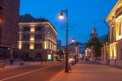 莫斯科的中心在晚上 库存照片