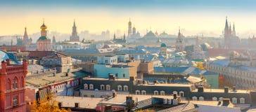 莫斯科的历史部分的全景鸟瞰图 免版税库存图片