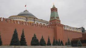 莫斯科红色俄国广场 克里姆林宫墙壁的看法有参议院塔的 在参议院旗杆的宫殿是 影视素材