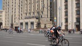 莫斯科自行车节日 带来从各自的许多参加者的公开事件 影视素材