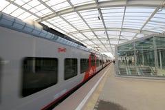 莫斯科铁路MCC的一点圆环或者MK MZD,俄罗斯 Luzhniki火车站 免版税库存照片