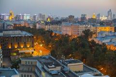 莫斯科顶房顶晚上视图 库存照片