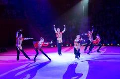 莫斯科马戏艺术性的马戏团表现在冰的 库存图片