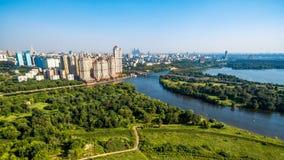 莫斯科鸟瞰图和莫斯科河,俄罗斯 免版税库存照片