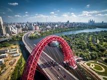 莫斯科鸟瞰图有现代桥梁的 免版税库存照片