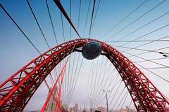 莫斯科,俄罗斯联邦- 11月4,2016 :在河的美丽如画的桥梁 它是首先缆绳被停留的,打开  免版税库存照片