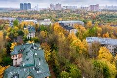 莫斯科,俄罗斯鸟瞰图在秋天 射击在10月 图库摄影