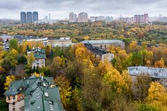 莫斯科,俄罗斯鸟瞰图在秋天 射击在10月 免版税图库摄影