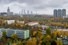 莫斯科,俄罗斯鸟瞰图在秋天 射击在10月 库存图片
