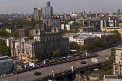 莫斯科,俄罗斯,胜利游行街道  库存照片