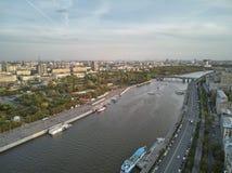 莫斯科,俄罗斯,高尔基公园 r 是最心爱的空闲场所在城市并且是休息的最佳的地方 免版税库存照片