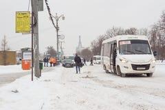 莫斯科,俄罗斯, 29 01 2018年:雪天 库存图片