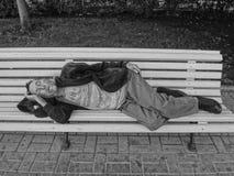 莫斯科,俄罗斯, 2017年9月15日:无家可归的人和他们的PR 库存图片