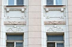 莫斯科,俄罗斯, 2015年4月, 19日,俄国场面:Lyalin pereulok,房子号码11-13/1, bld 2,建立年负面因素的1910-1914 免版税库存照片