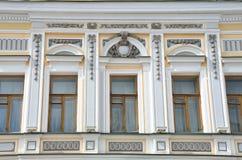莫斯科,俄罗斯, 2015年4月, 19日 俄国场面:普罗霍罗夫- Hladovych古老庄园在Podsosensky pereulok的在莫斯科, elments 免版税图库摄影