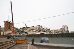 莫斯科,俄罗斯, 3月, 12日 2018年:戏院` Kirgizia `老大厦的爆破  免版税库存照片