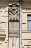 莫斯科,俄罗斯, 2017年4月, 15日 Pokrovka街道,房子19 费奥多尔拉赫曼诺夫公寓建筑学细节, 1898-1899 免版税图库摄影