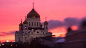 莫斯科,俄罗斯, 2016年1月3日,在基督大教堂的日落救主-著名建筑学地标,广角 免版税库存照片