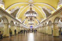 莫斯科,俄罗斯, 2016年10月6日:Komsomolskaya地铁车站机智 库存图片