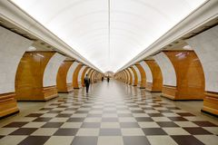莫斯科,俄罗斯, 2017:10 :26,其中一个地铁车站在莫斯科 图库摄影
