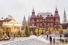 莫斯科,俄罗斯, Manezhnaya广场 夜间山s日落ural冬天 库存照片