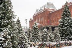 莫斯科,俄罗斯, Manezhnaya广场 蓝色分行休息日霜谎言天空雪结构树冬天 图库摄影