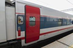 莫斯科,俄罗斯-01 11 2015年 中国高铁路运输速度 免版税库存图片