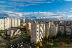 莫斯科,俄罗斯-双十国庆 2017年 16市microdistrict Zelenograd 库存照片