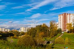 莫斯科,俄罗斯-双十国庆 2017年 Zelenograd管理区域16个区  免版税库存照片