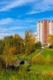 莫斯科,俄罗斯-双十国庆 2017年 Zelenograd管理区域16个区  免版税图库摄影