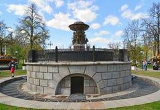 莫斯科,俄罗斯-可以07 2017年 在革命正方形的喷泉在莫斯科,俄罗斯 图库摄影