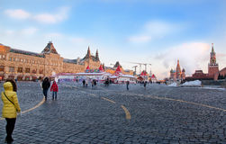 莫斯科,俄罗斯- 2016年圣诞节的12月13日红场 库存照片