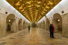 莫斯科,俄罗斯-24 03 2015年 地铁站Aviamotornaya 莫斯科地铁每天把7百万位乘客转入 免版税库存图片