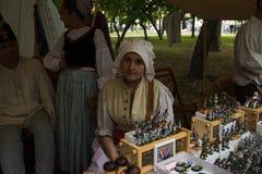 莫斯科,俄罗斯- 2019年6月:历史节日时间和世纪 生活和战争的重建 免版税图库摄影