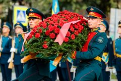 莫斯科,俄罗斯- 2017年9月02日:俄国卫兵的天 免版税库存图片