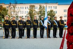 莫斯科,俄罗斯- 2017年9月02日:俄国卫兵的天 库存照片