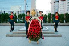莫斯科,俄罗斯- 2017年9月02日:俄国卫兵的天 图库摄影